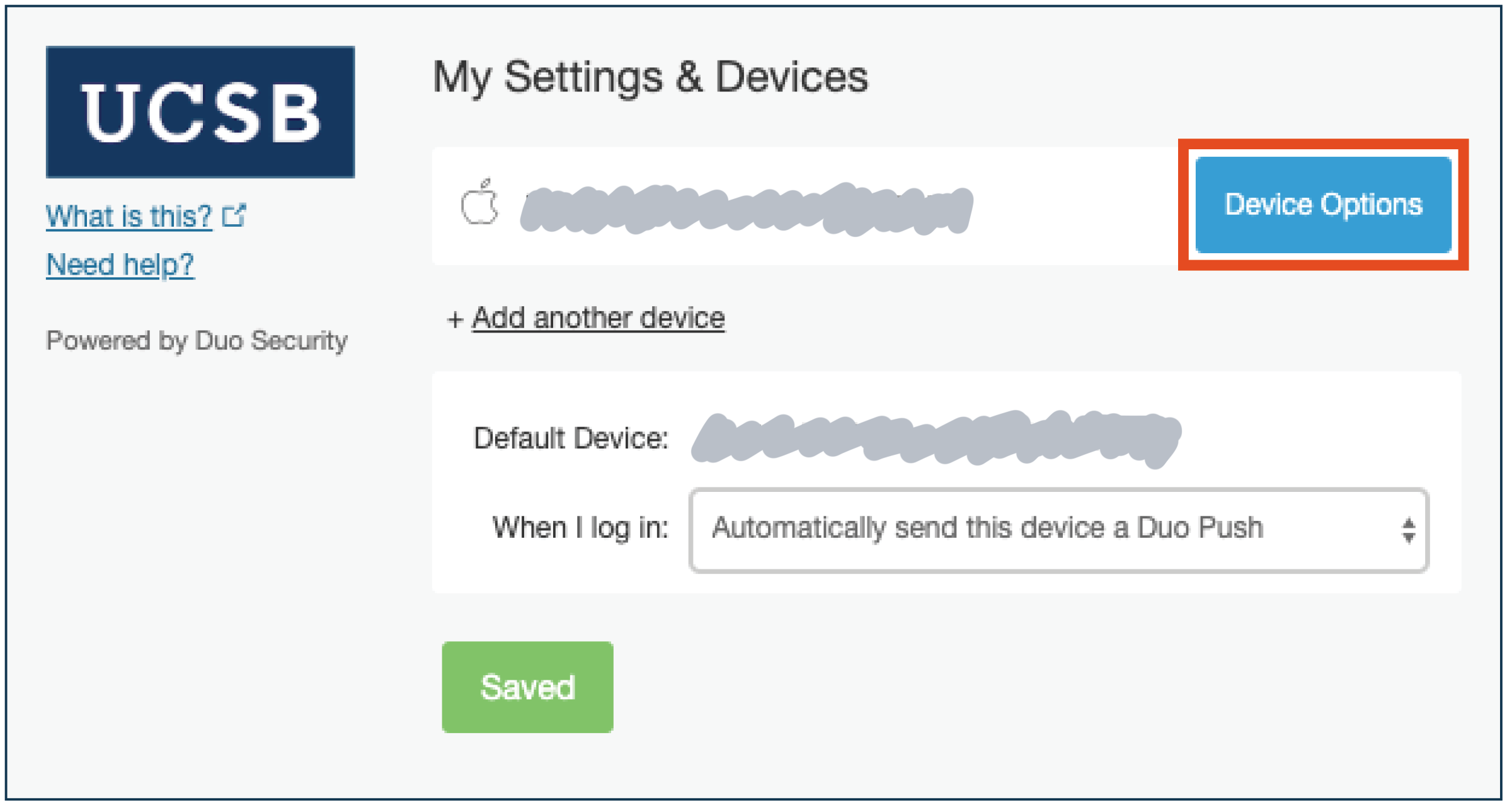 Duo device options