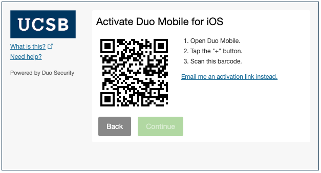Duo QR code activation