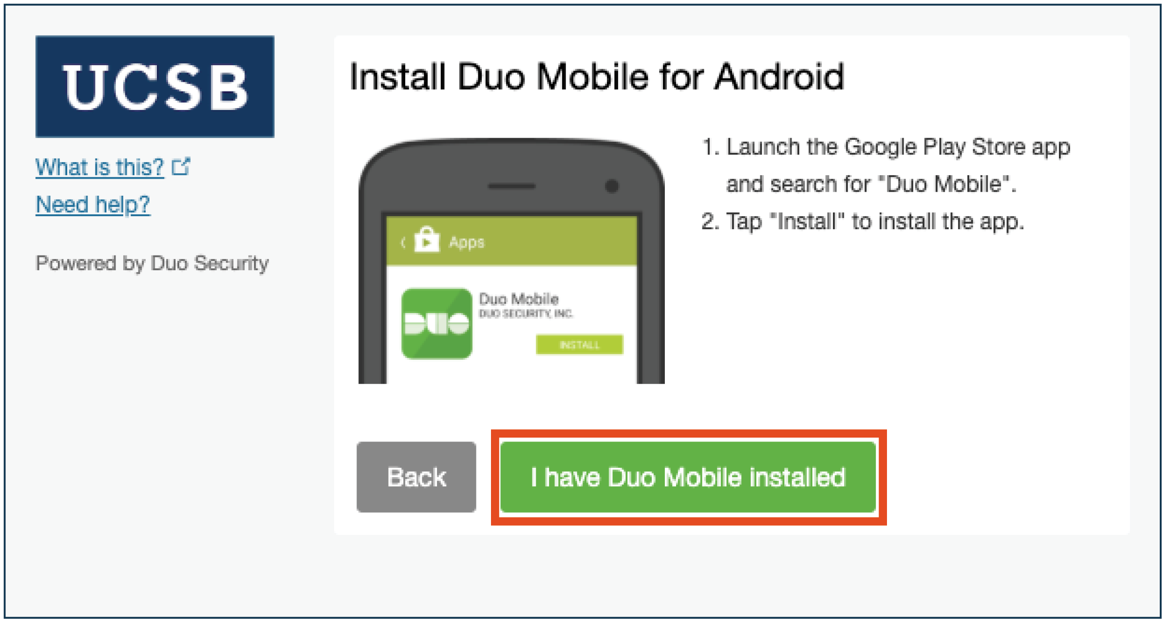 I have Duo Mobile installed selection